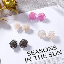 <b>2019</b> Korea <b>2019 New</b> Acrylic Resin Rose Flower <b>Stud Earrings</b> For ...