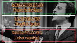 MERAVIGLIOSO - Domenico Modugno (Letra Español, English Lyrics, Sottotitoli  in italiano) - YouTube
