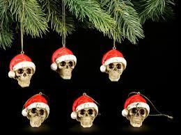 Christbaumkugeln 6er Set Totenköpfe Mit Weihnachtsmütze