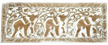 carved wood wall decor tropical home art elephant white whitewashed