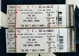 Details About 2 Tickets The Who 5 7 19 Van Andel Arena Grand Rapids Mi