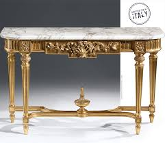 french console tables. Louis XVI Style Console Table With Floral Motif, Antique Gold-leaf Finish And Calacatta French Tables