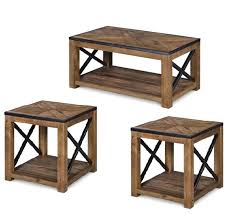 magnussen home penderton 3pc coffee table set with casters