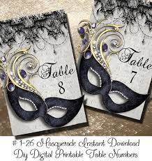 Masquerade Mask Table Decorations Instant Download Masquerde Printable Table Numbers 6060 58