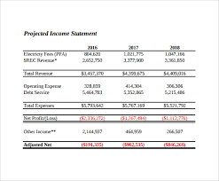 Sample Projected Income Statement Template 11 Free