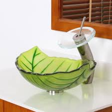 bathroom vessel sinks. elite spring leaves design tempered glass bathroom vessel sink sinks f