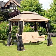 outsunny gazebo 3 seat reclining patio swing