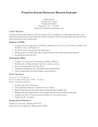 Objective In Resume Example Human Resources Objective For Resume