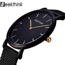 GEEKTHINK Top <b>Luxury Brand Quartz watch</b> men Black Casual ...