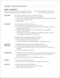 Resume Examples Entry Level Stunning Analytical Chemistry Resume Examples Sample Entry Level Chemist