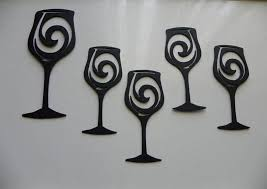 custom made wine glasses set of 5 metal wall art wall accent home kitchen decor