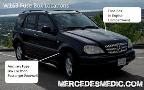 fuse box location fuse box 1998 2005 mercedes benz ml location diagram mercedes benz w163 fuse box location