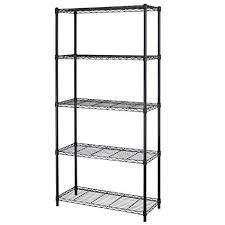 black storage shelves. Unique Storage 5shelf Homestyle Black Steel Wire Shelving 36 By 14 72 To Storage Shelves T