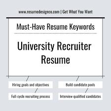 Must Have Keywords For University Recruiter Resume Resumedesignco
