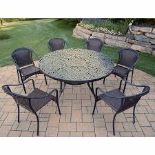 oakland living tuscany 7 piece black outdoor set with 60 round table and 6 stackable chairs