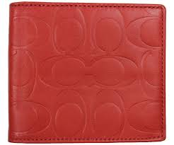 NEW COACH Mens Signature Embossed Leather Double Billfold Wallet F74078 Red  NWT  Coach  Wallet
