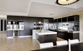 Kitchen Design, Astonishing Modern Open Plan Kitchen Designs Inspiration  With White Countertop Kitchen Island And Dining Room Table Also Black  Wooden ...