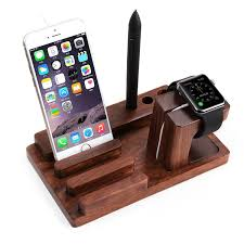 floveme multifunction wooden charging phone holder for iwatch smart watch iphone retro simple charging cradle stand holders