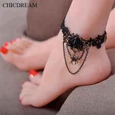 Fashion Gothic Tetování Střapcem Lace Rose šperku Ankle Bracelet