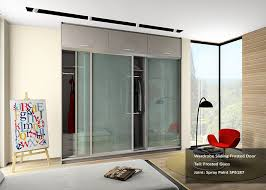 similar to the sliding door the frosted glass door allows ease of traffic flow in a wardrobe this material gives a more contemporary modern touch to both