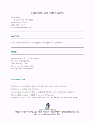 Child Actoresume Template Beginner Lovely Acting Free Cv Actors