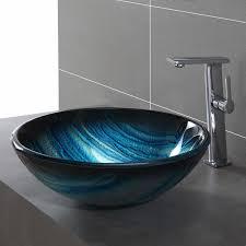 Bathroom Sink Material Kraus Ladon Glass Circular Vessel Bathroom Sink Reviews Wayfair