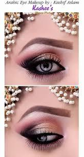 elegantly beautiful y gold arabic eye makeup by kashif aslam