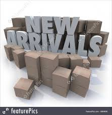 office merchandise. New Arrivals Cardboard Boxes Items Merchandise Products Royalty-Free Stock Illustration Office