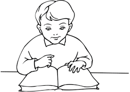 boy reading a book coloring page