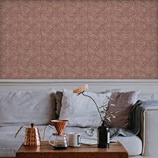 Vintage Jugendstil Tapete Délice Florale Nach William Morris Rote Vliestapete Kleiner Rapport Ornamenttapete Für Küche