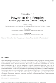 power to the people anti oppressive game design essay
