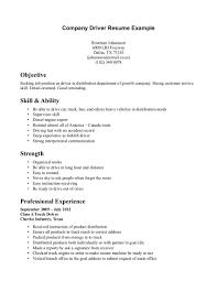 Driver Resume Format Doc