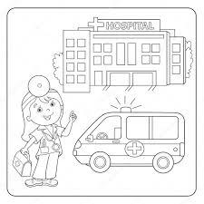 Kleurplaat Pagina Overzicht Van Arts Ambulance Auto Ziekenhuis