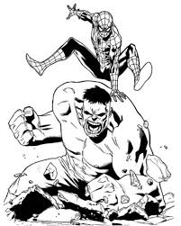 Small Picture Marvel Coloring Pages Spiderman vs Hulk Superheroes Coloring