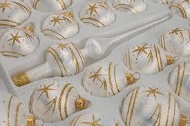 39 Tlg Glas Weihnachtskugeln Set In Ice Weiss Gold Komet