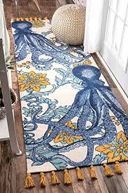 nuloom multicolor thomas paul flatweave cotton octopus runner 2 feet 8 inches by 8 feet