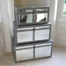 Image Is Loading Set Of 3 Mirrored Storage Boxes Trunks Chic
