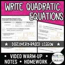 writing quadratic equations lesson in