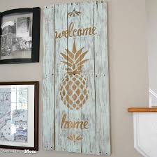 Upcycled Wall Art Architecture Of A Mom Pineapple Wooden Welcome Art Upcycled