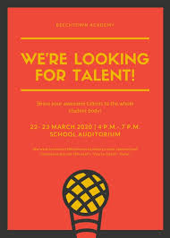 Yellow Red Bright Microphone Talent Show School Flyer