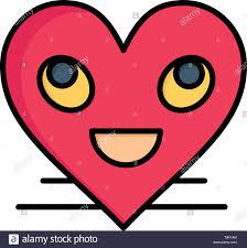 Heart Emojis Smiley Face Smile Flat Color Icon Vector