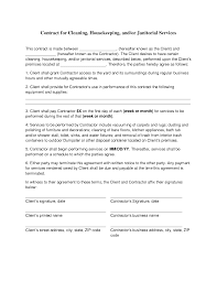 Free Printable Contract Forms Cleaning Contract Agreement Cleaning Contracts Free Printable 3