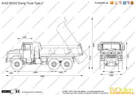 Kraz 65032 Dump Truck Type 4 Vector Drawing