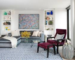 Living Room:Beautiful Living Room Design With L Shaped Gray Sectional Sofa  And Rectangular Clear