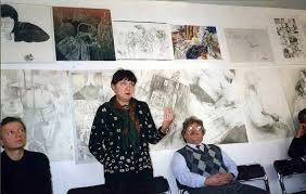 Искусство и дизайн Тюмени Юрий Владимирович Назаров и Ирэн Александровна Андреева на встрече со студентами отделения дизайна Тюменского колледжа искусств октябрь 1997 года