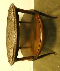a 7693 queen ann caned round coffee table no glass