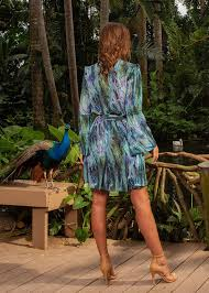Chiffon Knee Length Belted Seahorse Blouson Dress Acid Nyc
