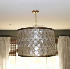 Decorations:DIY Black Drum Hanging Lamp Idea Sparkling Ornament In Drum Lamp  Shade Idea