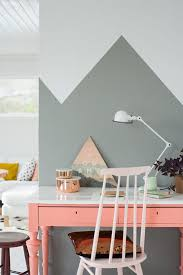 Half painted walls look smart just like the wall behind the study table in  the image. The designer has used gray color to paint half the wall in  geometric ...