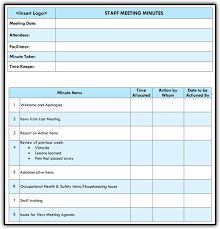 Staff Meeting Agenda Template Excel Word Templates